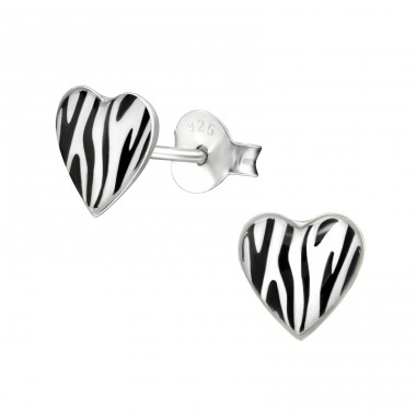 Zebra Print - 925 Sterling Silver Ear studs with enamel colors A4S19917