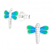 Dragonfly - 925 Sterling Silver Colorful ear studs for kids A4S20055