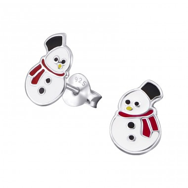 Snowman - 925 Sterling Silver Ear studs with enamel colors A4S20717