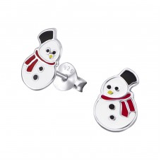 Snowman - 925 Sterling Silver Colorful ear studs for kids A4S20717