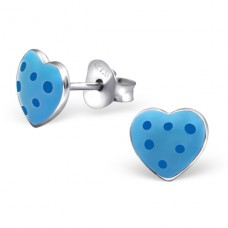 Heart - 925 Sterling Silver Colorful ear studs for kids A4S20749