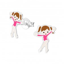 Ballet Dancer - 925 Sterling Silver Colorful ear studs for kids A4S21093