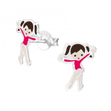 Ballet Dancer - 925 Sterling Silver Ear studs with enamel colors A4S21093