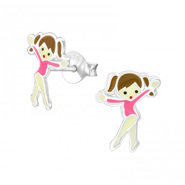 Ballet Dancer - 925 Sterling Silver Colorful ear studs for kids A4S21094