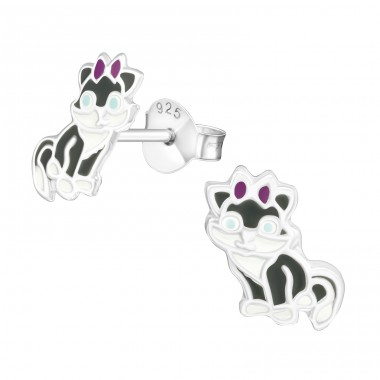 Cat - 925 Sterling Silver Colorful ear studs for kids A4S21097