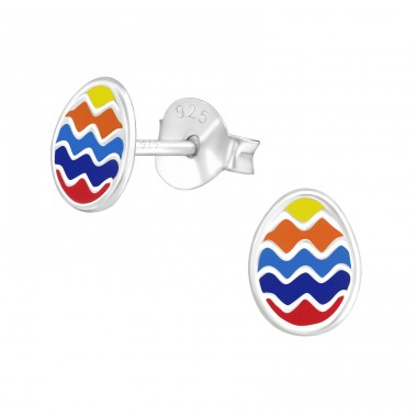 Egg - 925 Sterling Silver Colorful ear studs for kids A4S21710