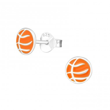Basketball - 925 Sterling Silver Colorful ear studs for kids A4S21856