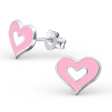 Heart - 925 Sterling Silver Colorful ear studs for kids A4S21904