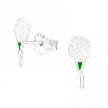Badminton Racket - 925 Sterling Silver Ear studs with enamel colors A4S21905