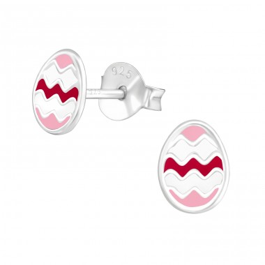 Egg - 925 Sterling Silver Colorful ear studs for kids A4S21912