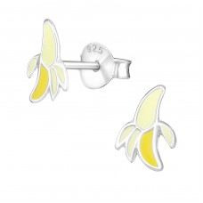 Banana - 925 Sterling Silver Colorful ear studs for kids A4S21954