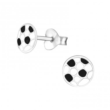 Football - 925 Sterling Silver Colorful ear studs for kids A4S21955