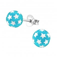 Ball Of Stars - Plastic + 925 Sterling Silver Colorful ear studs for kids A4S21977