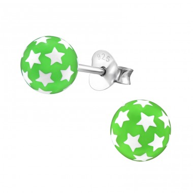Ball Of Stars - Plastic + 925 Sterling Silver Colorful ear studs for kids A4S21978
