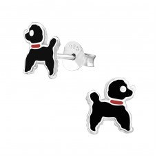 Poodle Dog - 925 Sterling Silver Colorful ear studs for kids A4S22221