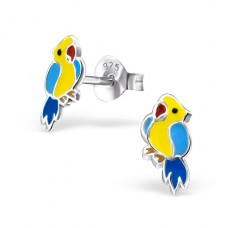 Parrot - 925 Sterling Silver Colorful ear studs for kids A4S22226
