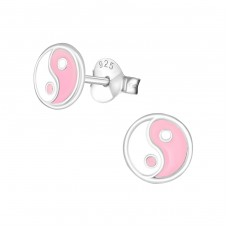 Ying And Yang - 925 Sterling Silver Colorful ear studs for kids A4S22228