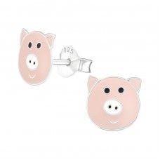 Pig - 925 Sterling Silver Colorful ear studs for kids A4S22244