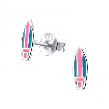 Surfboard - 925 Sterling Silver Colorful ear studs for kids A4S22245