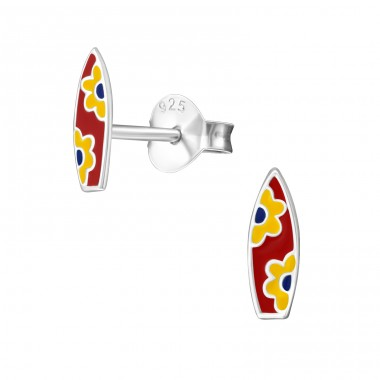 Surfboard - 925 Sterling Silver Colorful ear studs for kids A4S22246