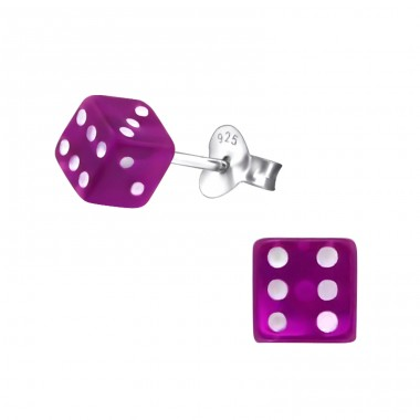 Dice - Plastic + 925 Sterling Silver Colorful ear studs for kids A4S22260