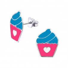 Cupcake - 925 Sterling Silver Colorful ear studs for kids A4S22413