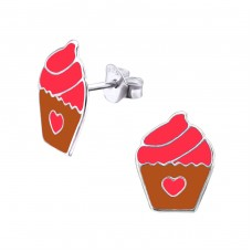 Cupcake - 925 Sterling Silver Colorful ear studs for kids A4S22414