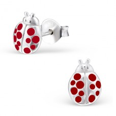 Ladybug - 925 Sterling Silver Colorful ear studs for kids A4S22482