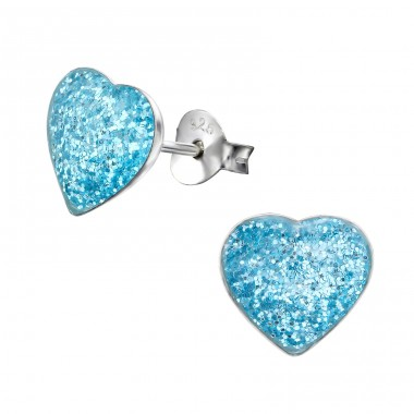 Heart - 925 Sterling Silver Colorful ear studs for kids A4S22548