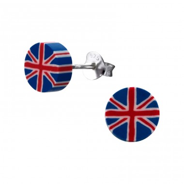 Uk Flag - 925 Sterling Silver + Plastic Colorful ear studs for kids A4S22611