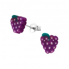 Grape - Plastic + 925 Sterling Silver Colorful ear studs for kids A4S22619