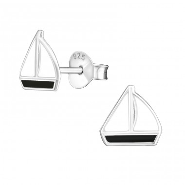 Sailboat - 925 Sterling Silver Colorful ear studs for kids A4S22930