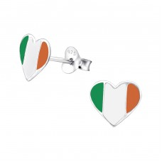 Ireland Flag - 925 Sterling Silver Colorful ear studs for kids A4S23048