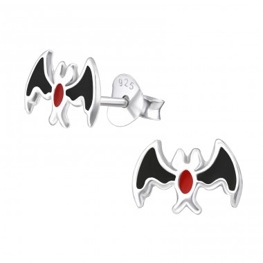 Bat - 925 Sterling Silver Ear studs with enamel colors A4S23424