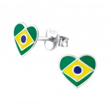 Brazil Flag - 925 Sterling Silver Colorful ear studs for kids A4S23427