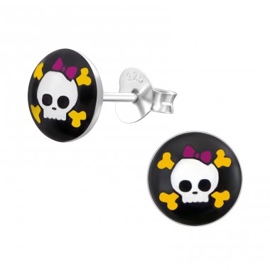 Skull - 925 Sterling Silver Colorful ear studs for kids A4S23806