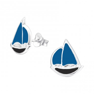 Sailboat - 925 Sterling Silver Colorful ear studs for kids A4S23807