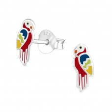 Parrot - 925 Sterling Silver Colorful ear studs for kids A4S23808