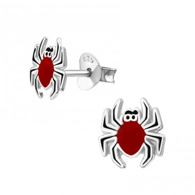 Spider - 925 Sterling Silver Ear studs with enamel colors A4S23870