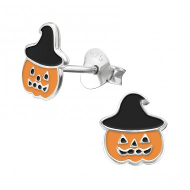 Pumpkin - 925 Sterling Silver Colorful ear studs for kids A4S23871