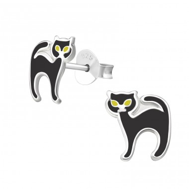 Cat - 925 Sterling Silver Colorful ear studs for kids A4S23872