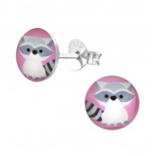 Raccoon - 925 Sterling Silver Colorful ear studs for kids A4S24428