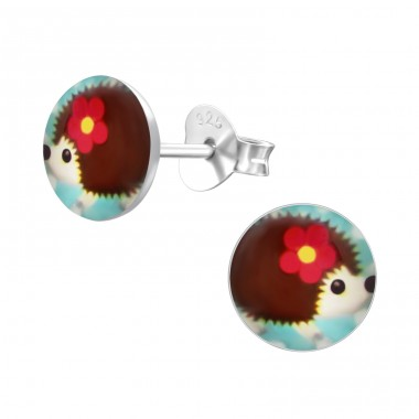 Hedgehog - 925 Sterling Silver Ear studs with enamel colors A4S24429