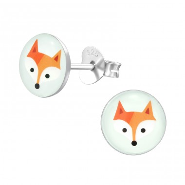 Fox - 925 Sterling Silver Colorful ear studs for kids A4S24431