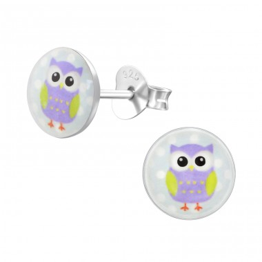 Owl - 925 Sterling Silver Ear studs with enamel colors A4S24433