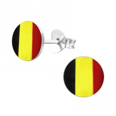 Belgium Flag - 925 Sterling Silver Ear studs with enamel colors A4S24434