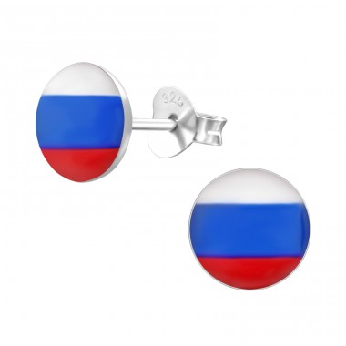 Russian Flag - 925 Sterling Silver Ear studs with enamel colors A4S24436