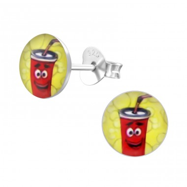 Soda - 925 Sterling Silver Colorful ear studs for kids A4S24442