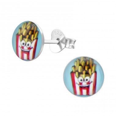 French Fries - 925 Sterling Silver Colorful ear studs for kids A4S24443
