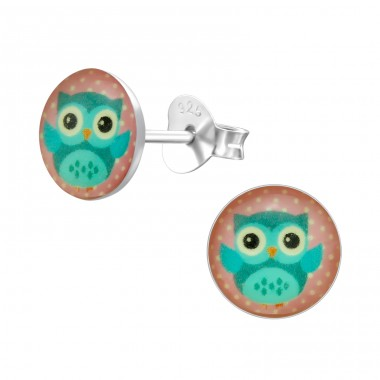 Owl - 925 Sterling Silver Ear studs with enamel colors A4S24444